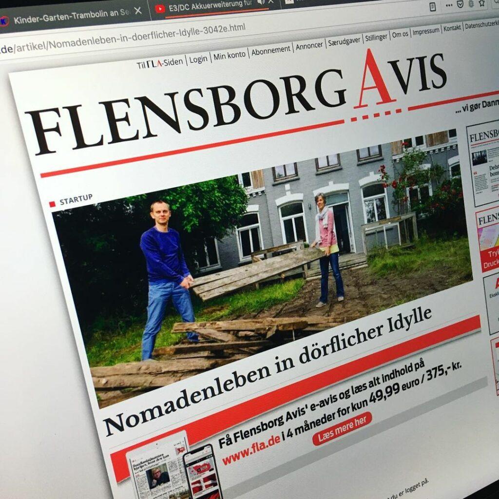 Screenshot der Flensborg Avis Website mit Artikel über CoWorking Schlei