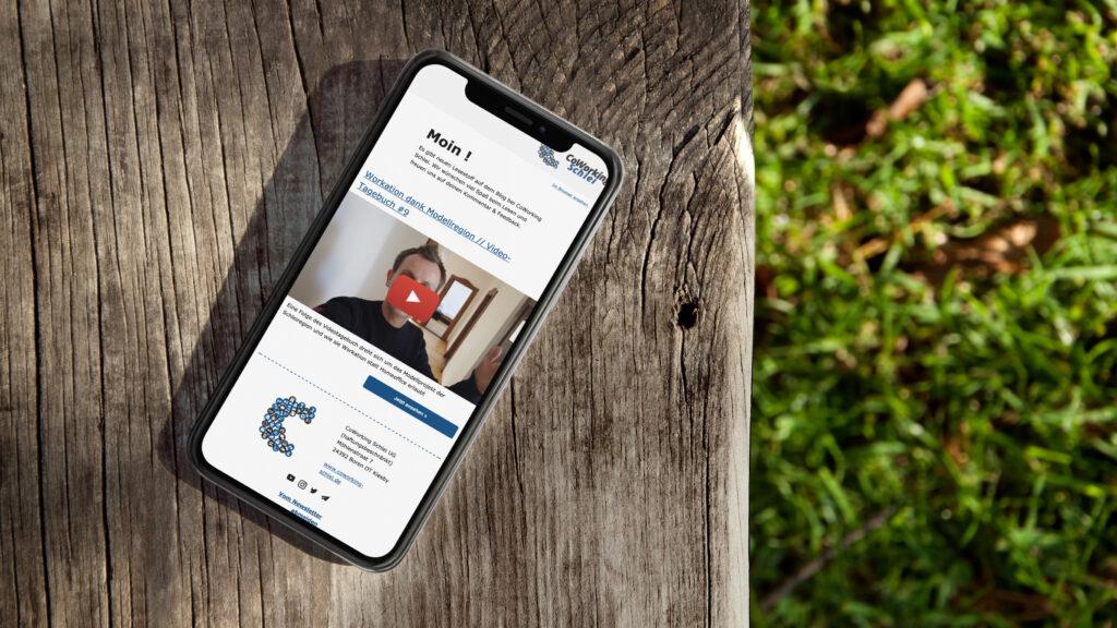 Der CoWorking Schlei Newsletter auf Smartphone, das auf einem Holzbalken liegt mit Rasen im Hintergrund