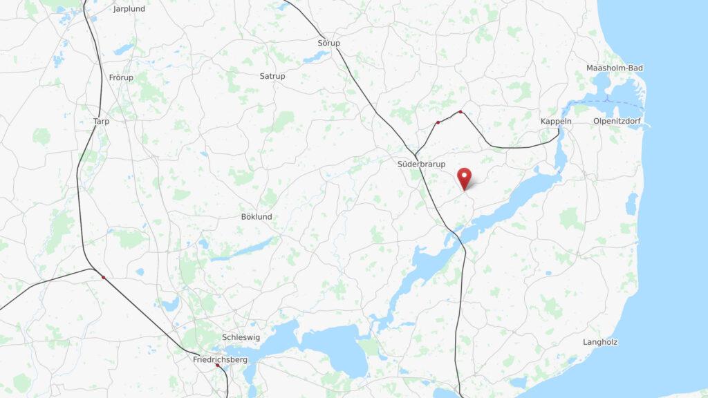 Karte der Schlei-Region mit Marker am Standort des CoWorking Schlei in Kiesby im Kreis Schleswig-Flensburg - © OpenStreetMap Mitwirkende